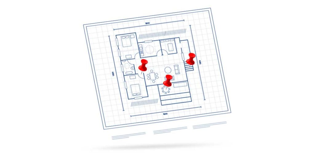 facility inspection floor plan with pins